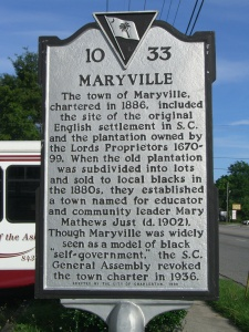 Maryville, SC historical marker